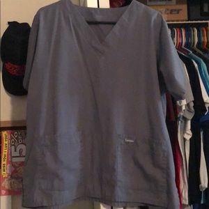 Grey Landau men's double pocket scrub top